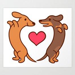 Cute cartoon dachshunds in love Art Print
