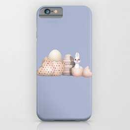 Kawaii Easter - Bunny hatching from Golden Colored Easter Eggs - light blue background iPhone Case