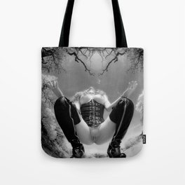 7034-TT Desert Domination BW IR Art Nude In Black Leather Corset Thigh High Boots Tote Bag