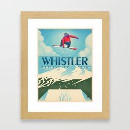"Vintage Whistler ""Snowboard Booter"" Travel Poster Framed Art Print"