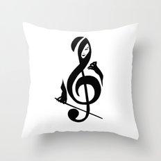 Music Girl Throw Pillow