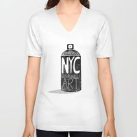 nyc V-neck T-shirts featuring NYC 1972 by Farnell