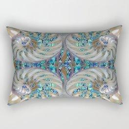 Blue-Green Grey Nautilus Shells Modern Abstracted Art Pattern Rectangular Pillow