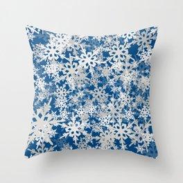 Classic Blue Snow Flurry Throw Pillow