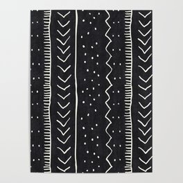 Moroccan Stripe in Black and White Poster