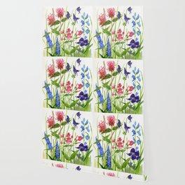 Garden Flowers Botanical Floral Watercolor on Paper Wallpaper