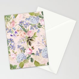 Vintage & Shabby Chic - Pink Redouté Roses Bouquets Pattern Stationery Cards