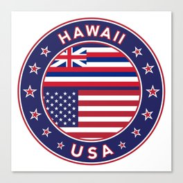 Hawaii, Hawaii t-shirt, Hawaii sticker, circle, Hawaii flag, white bg Canvas Print