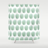 polkadot Shower Curtains featuring Watercolour polkadot by Mouseblossom