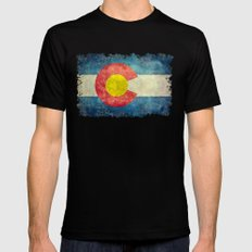 Colorado State flag - Vintage retro style Mens Fitted Tee Black MEDIUM