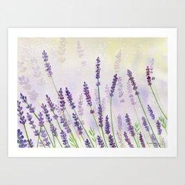 Lavender Flowers Watercolor Art Print