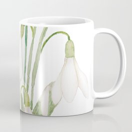 white snowdrop flower watercolor Coffee Mug