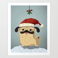 The Christmas Pug Art Print