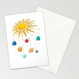 Cute Hanging Planets On Sun Stars Outer Space Galaxy Stationery Cards