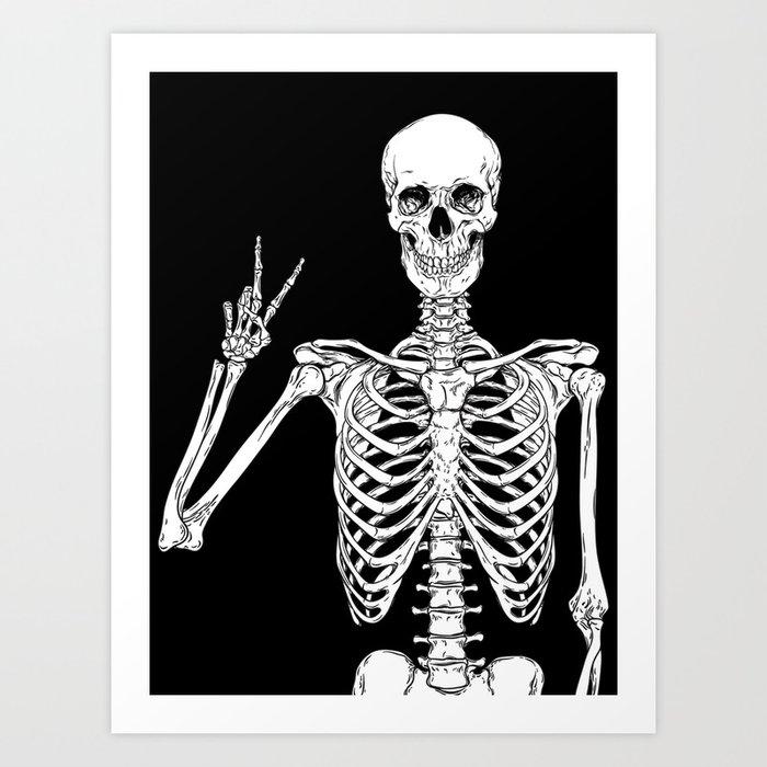 Human skeleton posing isolated over black background vector illustration Kunstdrucke
