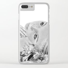 Orchid Flower Girl Clear iPhone Case