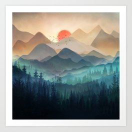 Wilderness Becomes Alive at Night Art Print