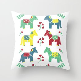Scandinavian Horses Print Throw Pillow