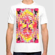 psychedelic geometric abstract pattern in red yellow black White MEDIUM Mens Fitted Tee