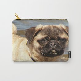 small dog pug baby on water and beach Carry-All Pouch