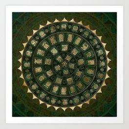 Maya Calendar Glyphs Gold and Malachite Kunstdrucke