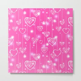 Openwork hearts on a bright pink background Metal Print