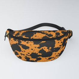 Bright Orange and Black Funny Leopard Style Paint Splash Pattern Fanny Pack