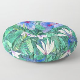 White Bird of Paradise & Blue Hibiscus Tropical Garden Floor Pillow