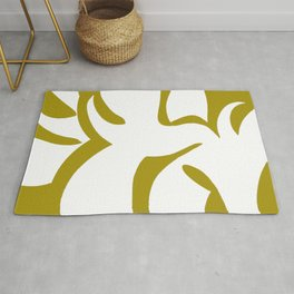 Geometric Abstract Floral Design Pattern Mustard  Rug