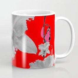 MODERN ART RED ART NOUVEAU WHITE ORCHIDS ART Coffee Mug