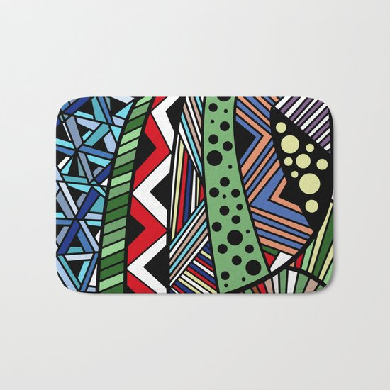IT'S RAINING COLORS! (abstract tribal) Bath Mat