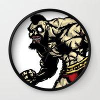street fighter Wall Clocks featuring Bear Wrestler - Street Fighter by Peter Forsman
