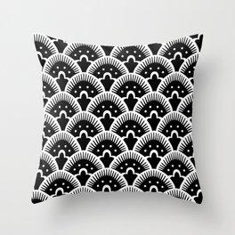 Fan Pattern Black & White 201 Throw Pillow