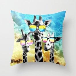 Crazy Cool Giraffe Throw Pillow