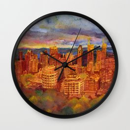 Montreal from Mont Royal during Sunset Wall Clock