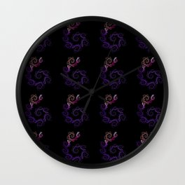 dancing flowers in purple Wall Clock