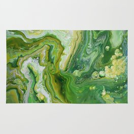 Take Five Fluid Acrylic Pour Painting Green Yellow Rug