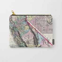 1872 Map of California and San Francisco Carry-All Pouch