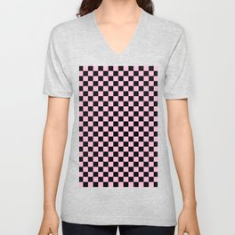 Black and Cotton Candy Pink Checkerboard Unisex V-Neck