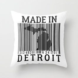 MADE IN DETROIT Bar Code Throw Pillow