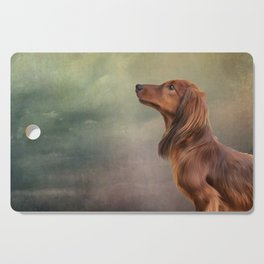 Dog breed long haired dachshund portrait oil painting Cutting Board
