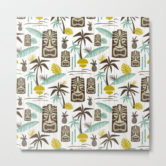 Island Tiki - White Metal Print
