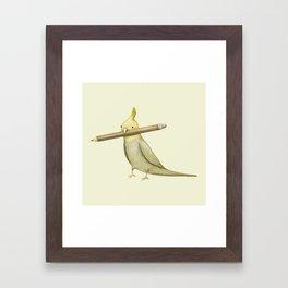 Cockatiel & Pencil Framed Art Print