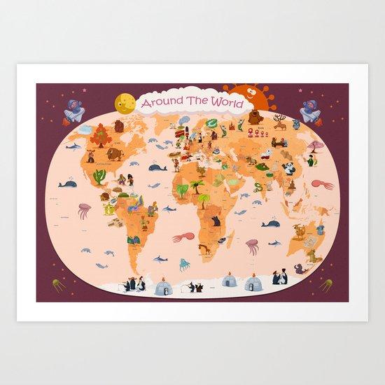 Worldwide map for kids. Art Print