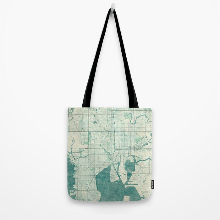 Tampa Map Blue Vintage Tote Bag