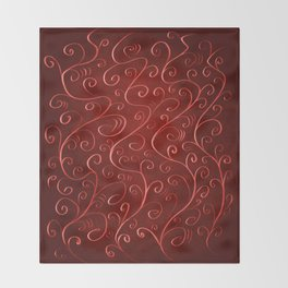 Whimsical Textured Glowing Rusty Red Swirls Throw Blanket