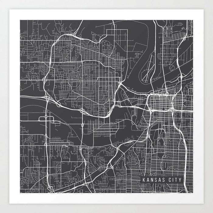 Kansas City Map, USA - Gray Art Print by mainstreetmaps