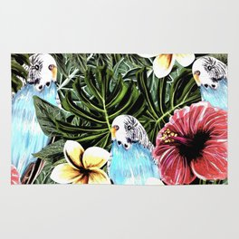 Tropical bird with floral texture Rug