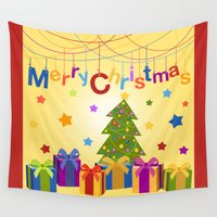 merry christmas Wall Tapestries featuring Merry Christmas by itsme.emi