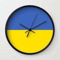 ukraine Wall Clocks featuring Ukraine country flag by tony tudor